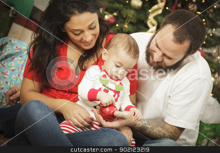 Young Mixed Race Family Christmas Portrait  stock photo, Young Mixed Race Family Portrait Near the Christmas Tree. by Andy Dean
