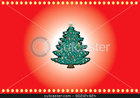 Christmas Background 4 stock photo, Vector Illustration of a red and gold background with decirated Christmas tree. Christmas Background 4. by Basheera Hassanali
