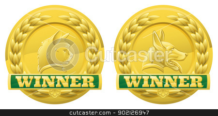 Cat and dog pet winners medals stock vector clipart, Gold cat and dog pet winners medals for pet shows or for pet related product reviews or other cat and dog pet competitions by Christos Georghiou