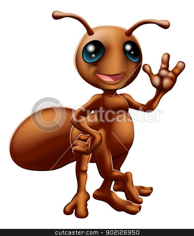 Cartoon ant mascot stock vector clipart, Illustration of a happy cute cartoon ant mascot waving by Christos Georghiou