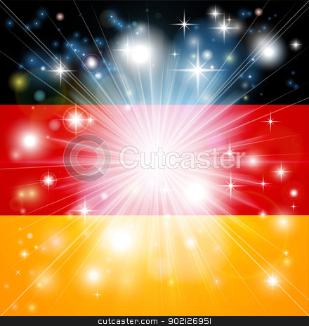 German flag background stock vector clipart, Flag of Germany background with pyrotechnic or light burst and copy space in the centre by Christos Georghiou