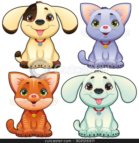 Cute dogs and cats. stock vector clipart, Cute dogs and cats. Funny cartoon and vector animal characters, isolated objects. by ddraw