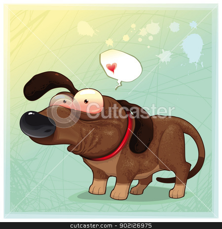 Funny dog with balloon. stock vector clipart, Funny dog with balloon. Vector illustration, isolated objects: you can insert any items instead the heart by ddraw