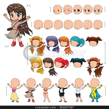 Avatar girl, vector illustration, isolated objects. stock vector clipart, Avatar girl, vector illustration, isolated objects. All the elements adapt perfectly each others. Larger character on the right is just an example. 5 eyes, 7 mouths, 10 hair and 6 clothes. Enjoy!! by ddraw