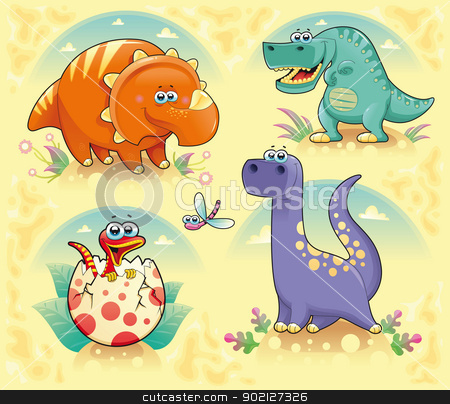 Group of funny dinosaurs. stock vector clipart, Group of funny dinosaurs. Cartoon and vector isolated characters on background by ddraw