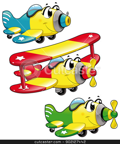Cartoon airplanes. stock vector clipart, Cartoon airplanes. Funny vector characters, isolated objects by ddraw