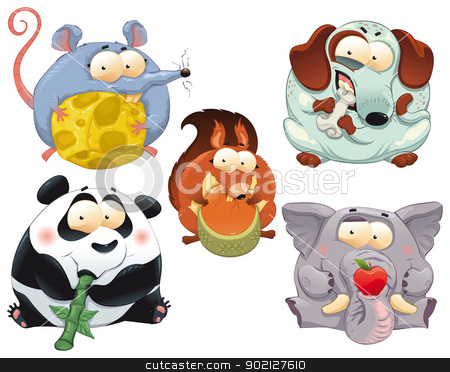 Group of funny animals with food. stock vector clipart, Group of funny animals with food. Cartoon and vector isolated characters. by ddraw