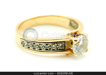 ring stock photo, Gold wedding rings isolated on white background by Vitaliy Pakhnyushchyy