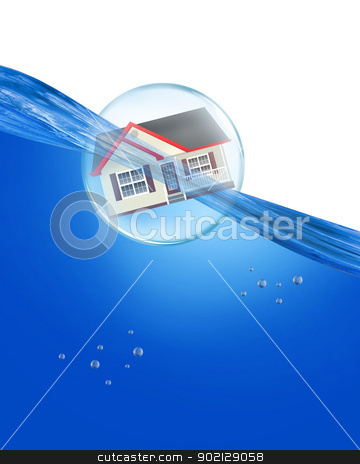 Home in a bubble. stock photo, Home in a bubble under water. by WScott