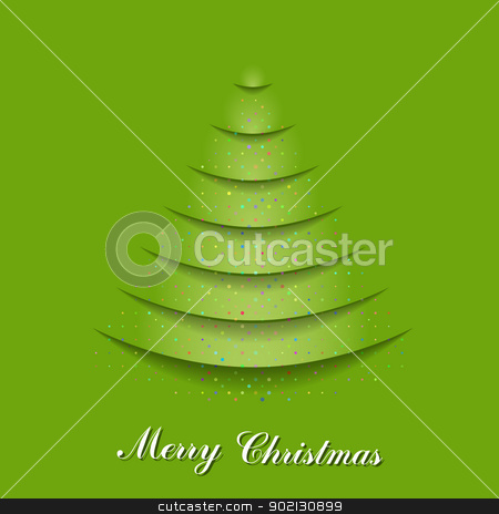 Christmas card stock photo, Christmas tree from cutting paper and fall confetti. EPS 10 vector illustration. Used effect transparency layers of shadow and confetti by Imaster