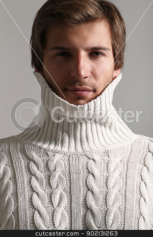 Portrait of handsome man wearing in sweater stock photo, Portrait of Beautiful and attractive man in white sweater by yekostock