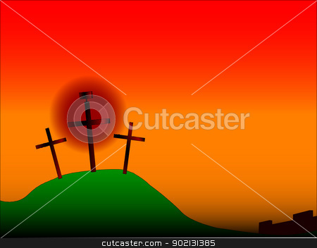 Easter Crosses stock vector clipart, The three crosses with sign on Calvary with the city walls in the background. by Kotto