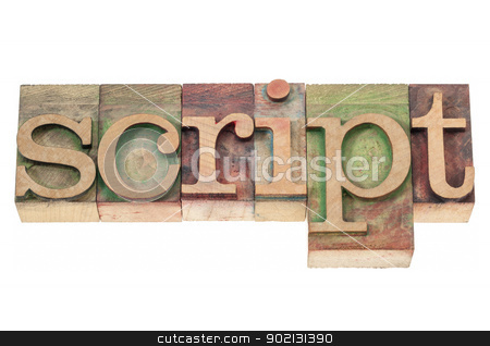 script word in wood type stock photo, script word  - isolated text in vintage letterpress wood type blocks stained by color inks by Marek Uliasz