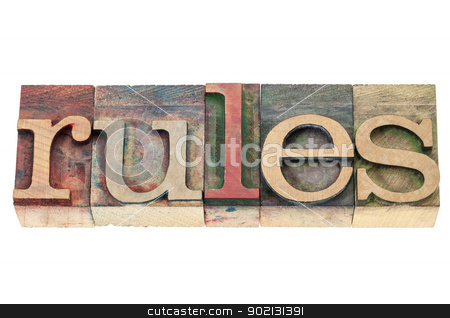 rules word in wood type stock photo, rules word  - isolated text in vintage letterpress wood type blocks stained by color inks by Marek Uliasz