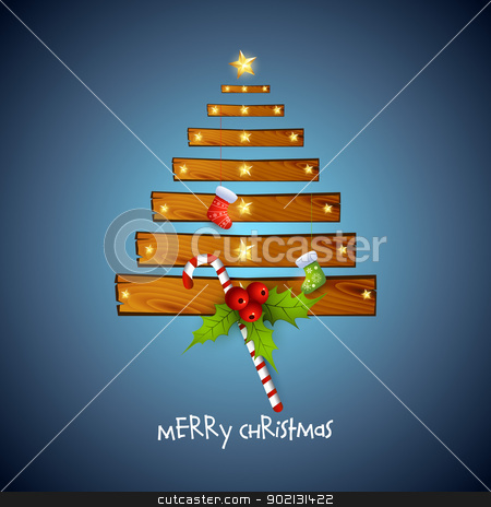 creative christmas tree with wood stock vector clipart, Vector creative christmas tree with wood by pinnacleanimates