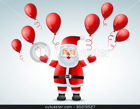 santa claus flying balloon stock vector clipart, santa claus flying balloons design by pinnacleanimates