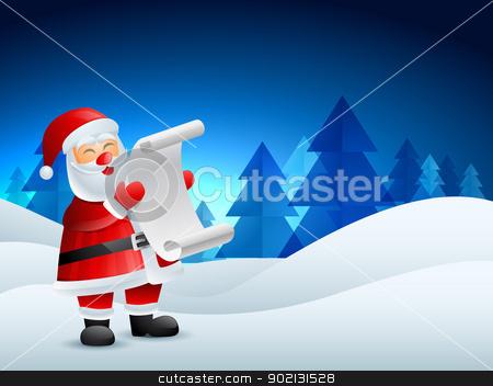 santa claus illustration stock vector clipart, santa claus reading list of gifts by pinnacleanimates