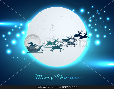 christmas santa claus stock vector clipart, vector christmas chariot flying design illustration by pinnacleanimates