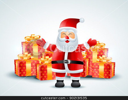 santa claus with gifts stock vector clipart, vector santa claus with merry christmas gifts by pinnacleanimates