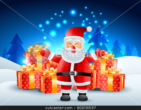 santa claus with gifts stock vector clipart, santa claus with gift illustration by pinnacleanimates
