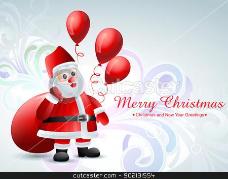 santa claus stock vector clipart, vector santa claus with bag of gifts by pinnacleanimates