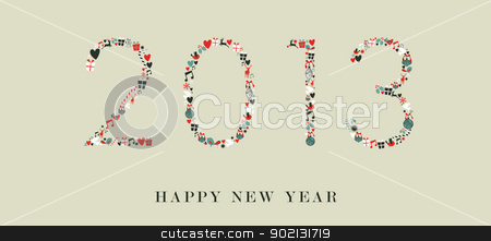 Christmas icons 2013 new year stock vector clipart, Christmas decorations icons in 2013 happy new year postcard background. Vector illustration layered for easy manipulation and custom coloring. by Cienpies Design