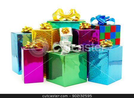 christmas gifts  stock photo, Christmas box gifts with satin bow isolated on white background by Vitaliy Pakhnyushchyy
