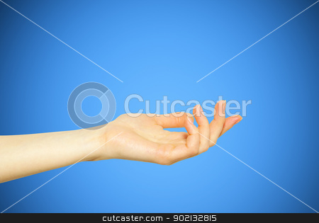 hand  stock photo, A hand begging alms on a blue background by Vitaliy Pakhnyushchyy