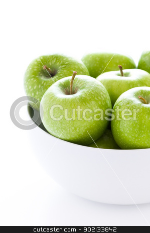 green granny smith apples stock photo, fresh green granny smith apples in a white bowl by Lee Avison