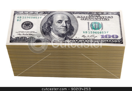 one hundred dollar bills isolated stock photo, stack of one hundred dollar bills isolated on white by Lee Avison