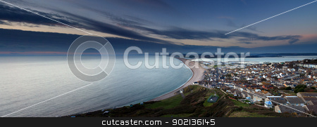 Chesil beach at sunset stock photo, Sunset Chesil Beach Fortuneswell Portland Dorset by Ollie Taylor