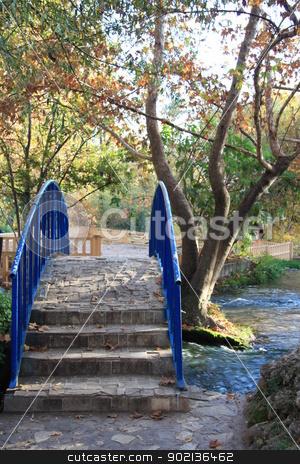 Bridge over the river in Autumn park stock photo, Beautiful autumn park with a stone bridge over the river by Yulia Zhukova