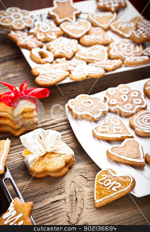 Christmas cookie stock photo, Traditional homemade Christmas cookie gingerbreads  by Grafvision