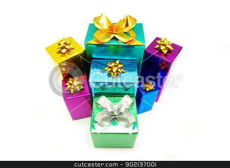christmas box  stock photo, Christmas box gifts with satin bow isolated on white background by Vitaliy Pakhnyushchyy