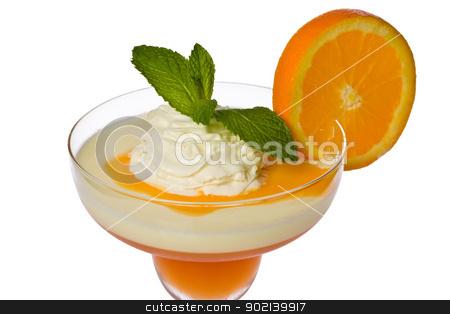 Apricot and Lemon Parfait stock photo, Apricot-orange and lemon parfait with orange sauce, whipped cream, mint, and a slice of orange. by Glenn Price