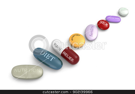 Pills stock photo, An assortment of pills with various inscriptions and colors. by Glenn Price