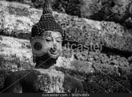 An ancient Buddha image stock photo, An ancient Buddha image in Thailand (black and white) by pattarastock
