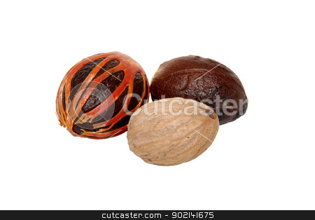 Three whole nutmegs - covered in mace, in case and seed stock photo, Three whole nutmegs - covered in mace, in case and seed, isolated on a white background by Sarah Marchant