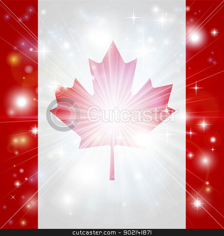 Canadian flag background stock vector clipart, Flag of Canada background with pyrotechnic or light burst and copy space in the centre by Christos Georghiou