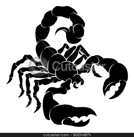 Stylised Scorpion illustration stock vector clipart, An illustration of a stylised black scorpion perhaps a scorpion tattoo by Christos Georghiou