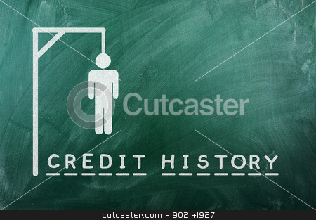 credit history stock photo, gallows game-businessman bancruptcy on green blackboard and text