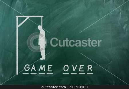 Game over stock photo, gallows game-businessman bancruptcy on green blackboard and text