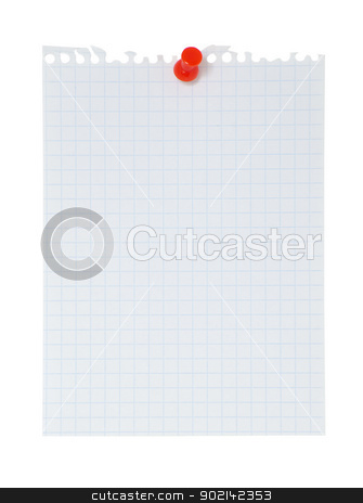 blank note paper stock photo,  Blank note paper and red paper-clip isolated  on white by Vitaliy Pakhnyushchyy