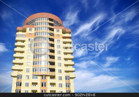 house stock photo, A modern apartments building on sky by Vitaliy Pakhnyushchyy