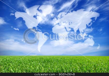 landscape stock photo, field on a background of the blue sky by Vitaliy Pakhnyushchyy