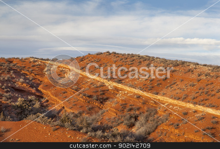 Red Mountain in Colorado stock photo, Red Mountain Open Space in northern Colorado near Wyoming border - semi desert rough terrain landscape with a narrow layer of Lyons sandstone exposed, sunset light by Marek Uliasz