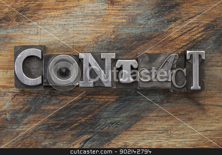 contact word in metal type stock photo, contact word in vintage metal letterpress  type on a grunge painted wood background by Marek Uliasz