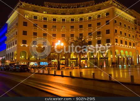 Thessaloniki by night, Greece stock photo, Nice view of place and building at night with reflection on the street by Imaster