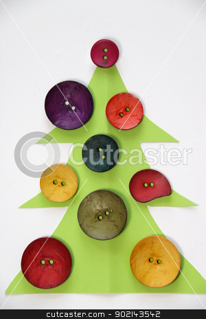 Christmas in creative style  stock photo, Paper Christmas tree decorated with vivid buttons and funny toys  by Tatiana Mihaliova