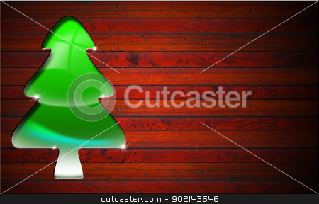 Green and Stylized Christmas Tree stock photo, Green stylized Christmas tree with reflections on wood background by catalby